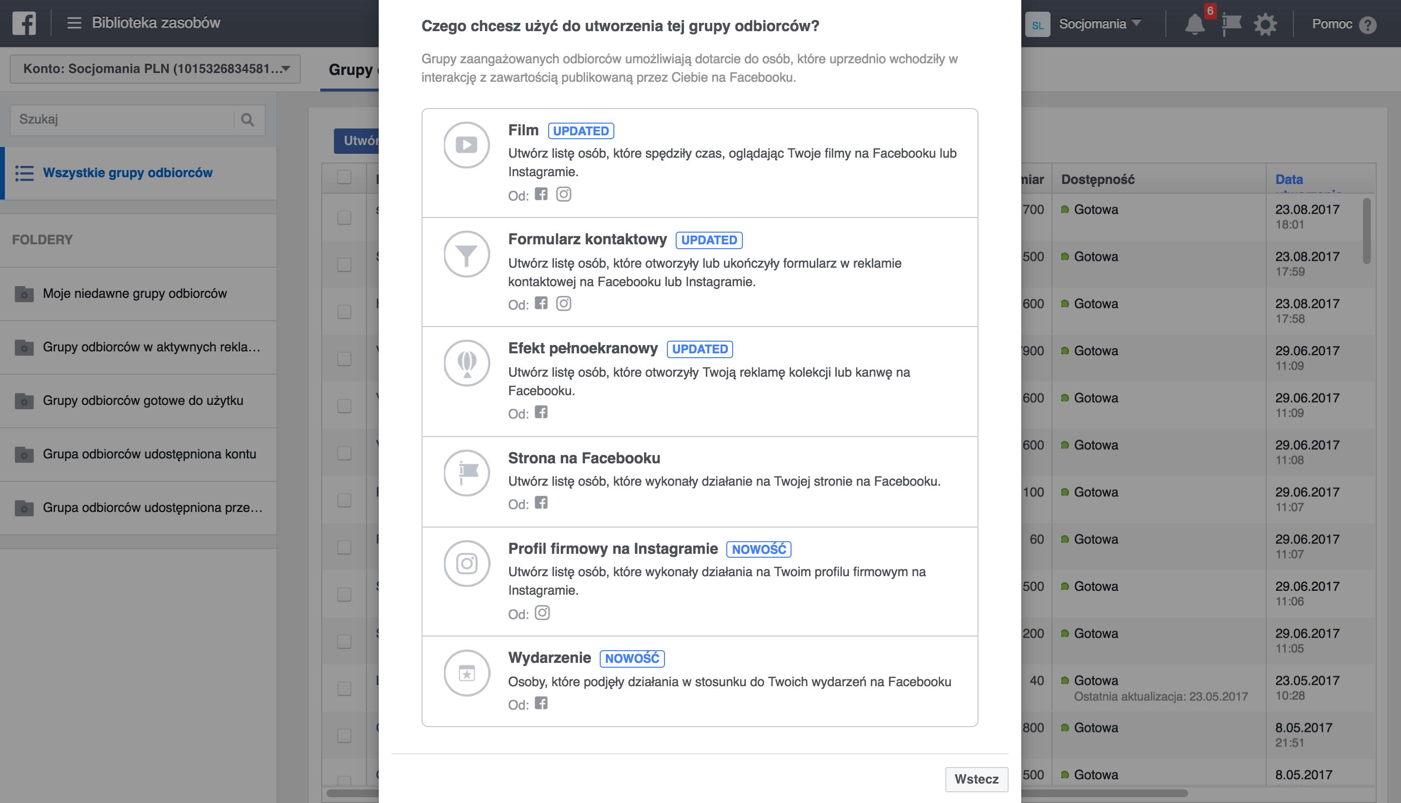Rys. 4 Dostępne opcje przy tworzeniu grup niestandardowych odbiorców na podstawie zaangażowanych użytkowników, źródło: business.facebook.com