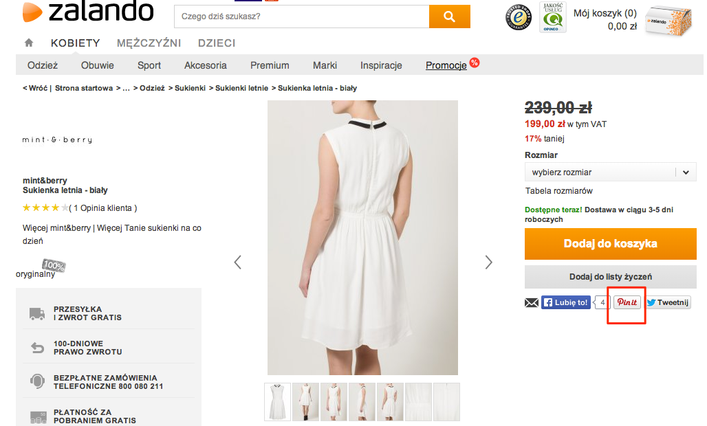 Zalando PinIt Button