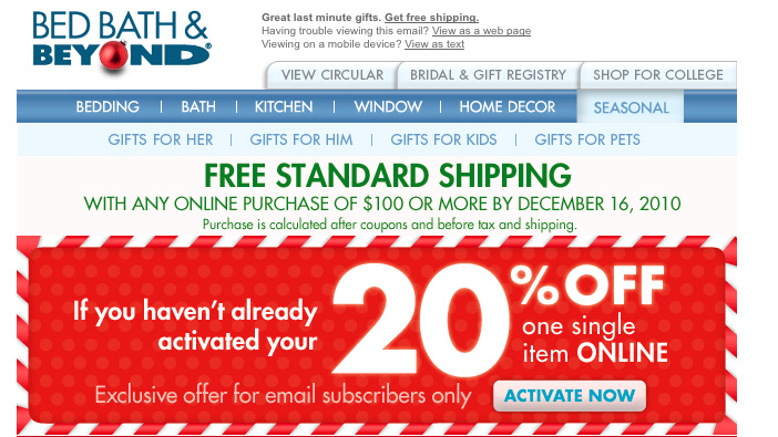 Oferta newsletter Bed Bath&Beyond