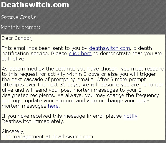 Mail z serwisu Death Switch