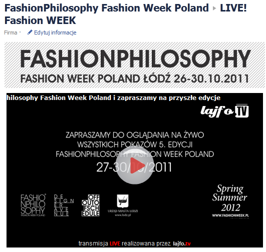 Livestream z pokazów na Fashion Week Poland