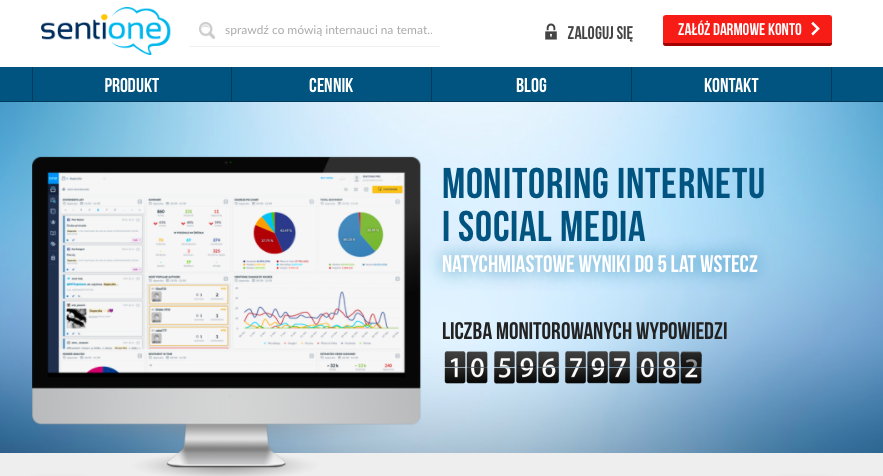 Monitoring social media i internetu - Sentione
